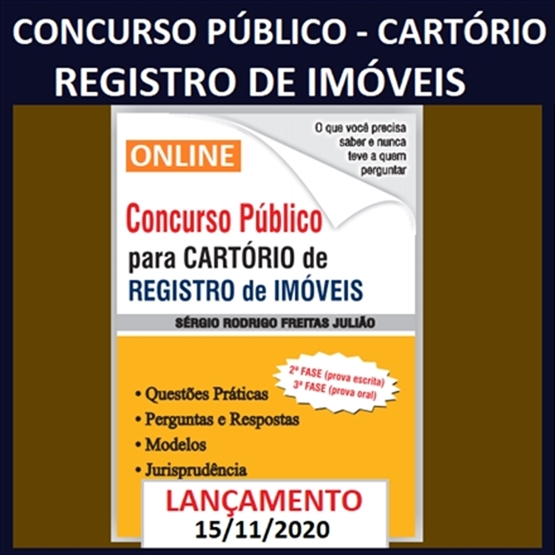 (ONLINE) Concurso Público para Cartório de Registro de Imóveis (2ª e 3ª fases) - EM BREVE!