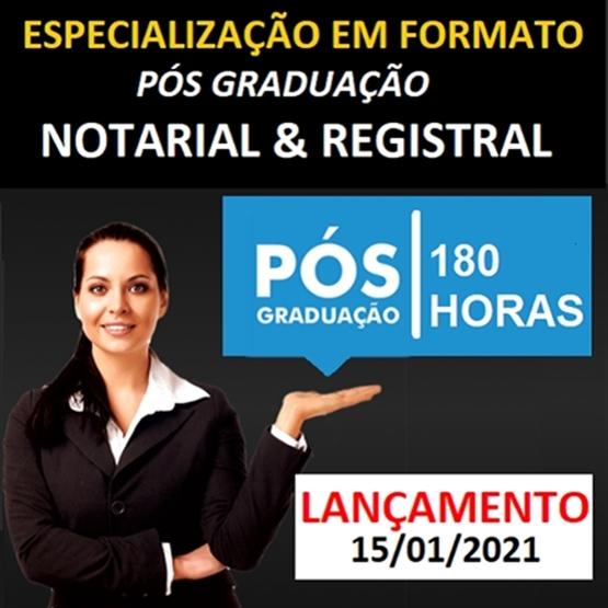 (ONLINE) Curso de Especialização em Formato Pós Graduação em Registros Públicos - 180 horas!
